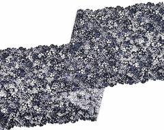 Эластичное кружево, ОПТ, 22 см, мультиколор синие цветы, м, (Арт: EK-2284), м