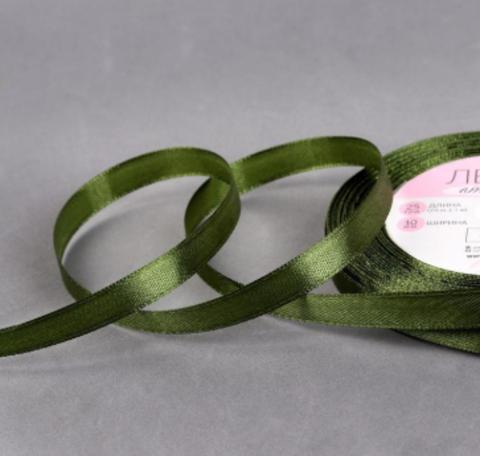 Лента атласная,цвет травяной, 6 мм*23*1м