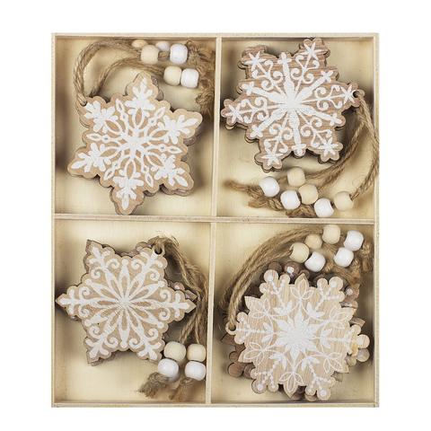 Набор из 12-ти елочных украшений Snowflakes (дерево) 2