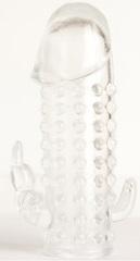 Гелевая прозрачная насадка с 2 отростками - 13 см.