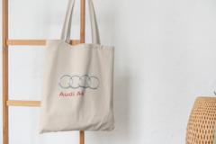 Сумка-шоппер с принтом Aуди А4 (Audi A4) бежевая 002