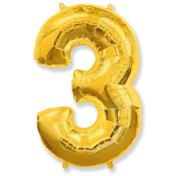 Фольгированная цифра 3, золото