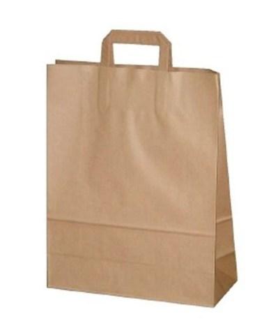 Пакет коричневый 320х180х320 мм  бумажный с плоскими ручками крафт 80
