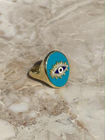 Кольцо-печатка Око из позолоченного серебра с голубой эмалью