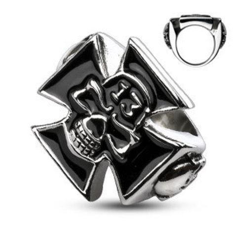 Большой перстень печатка с чёрным крестом черепом и цифрой тринадцать из нержавеющей ювелирной медицинской хирургической стали 316L SPIKES R-H2016M