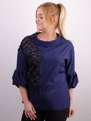 Мілана. Стильна блуза великих розмірів. Синій.