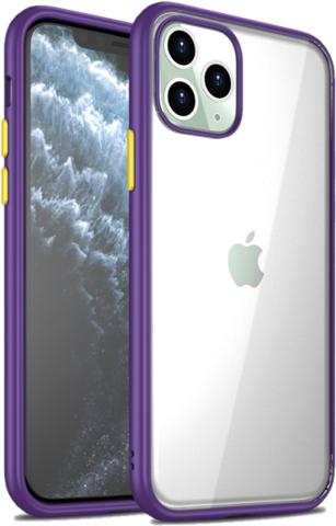Прозрачный чехол на iPhone 11 Pro Max, цвет рамок фиолетовый, серии Ultra Hybrid от Caseport
