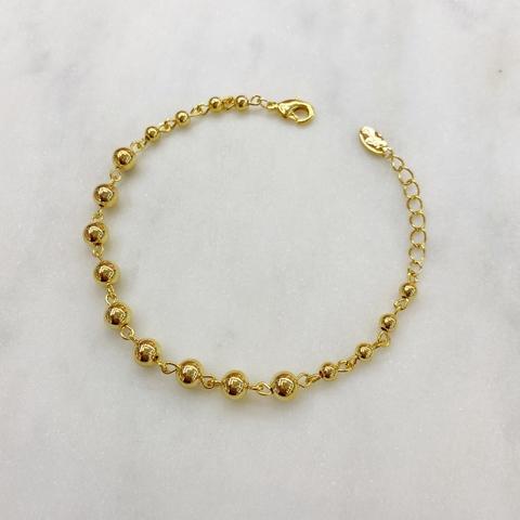 Браслет-цепь из бусинок (золотистый)