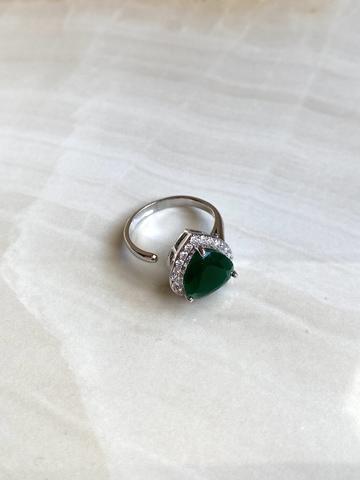 Кольцо Аквахарт с зеленый сердцем, серебряный цвет