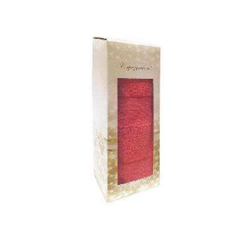 Полотенце махровое Конфетти 50х90 в коробке, коралл