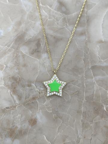 Колье Стелла из серебра, зеленая эмаль