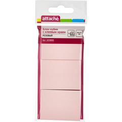 Стикеры Attache 38х51 мм пастельные розовые (3 блока по 100 листов)
