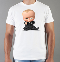 Футболка с принтом мультфильма Босс-молокосос (The Boss Baby) белая 008