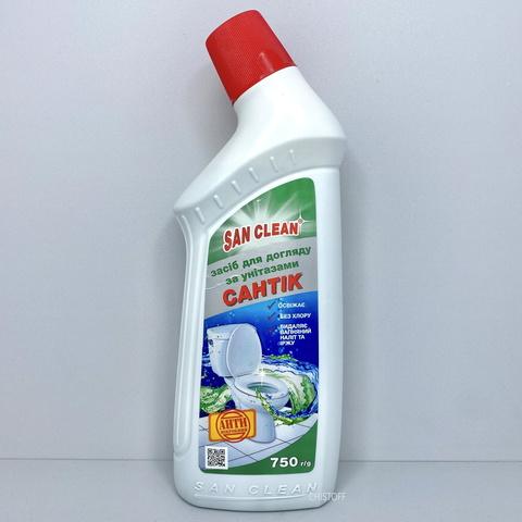 Средство для чистки унитаза San Clean САНТИК 750 мл зеленый