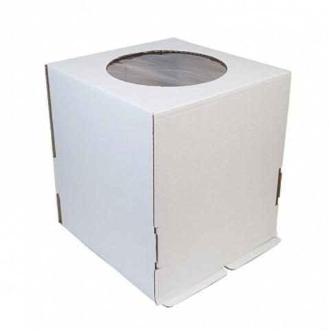 Коробка для торта с окном, 26*26*28см (белая)