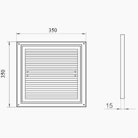 Решетка накладная 350х350 мм (ДВ 350 с)
