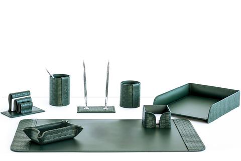 Органайзер офисный 8 предметов из кожи Treccia/зеленый