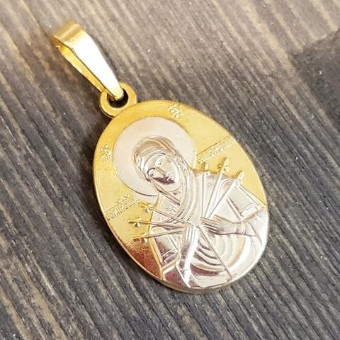 Нательная именная икона Божия Матерь Семистрельная с позолотой кулон медальон с молитвой
