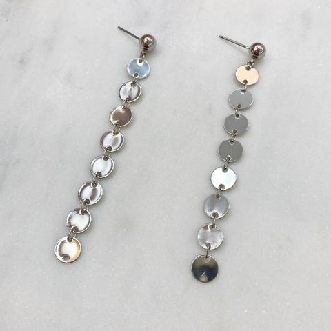 Серьги-подвески с монистами серебряный