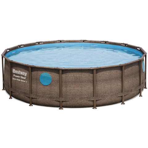 Каркасный бассейн Bestway Ротанг 56725 (488х122 см) с картриджным фильтром, лестницей и тентом / 20851