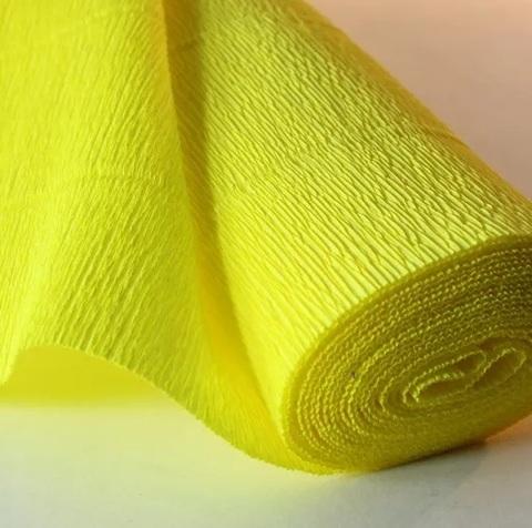 Бумага гофрированная, цвет 575 лимонный, 180г, 50х250 см, Cartotecnica Rossi (Италия)