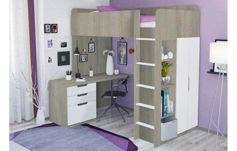 Кровать-чердак Polini kids Simple с письменным столом и шкафом, вяз-белый