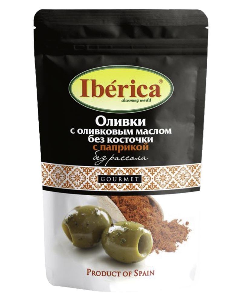 Оливки Iberica с оливковым маслом и паприкой без косточки (без рассола) 70 гр