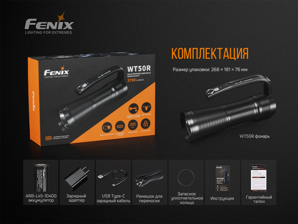 Фонарь Fenix WT50R - фотография