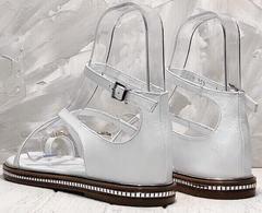 Красивые женские сандалии босоножки с закрытой пяткой без каблука Evromoda 454-402 White.