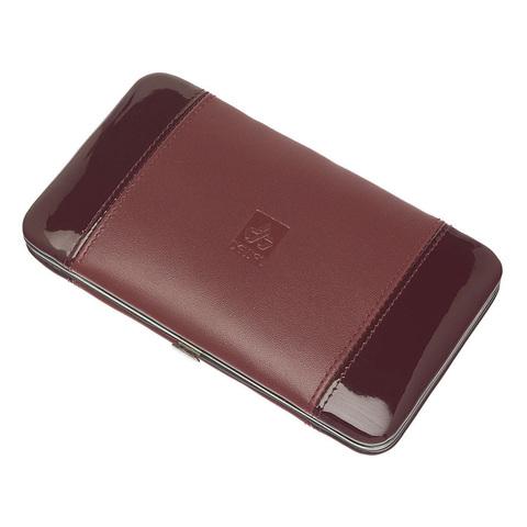 Маникюрный набор Dewal, 7 предметов, цвет красный, кожаный футляр