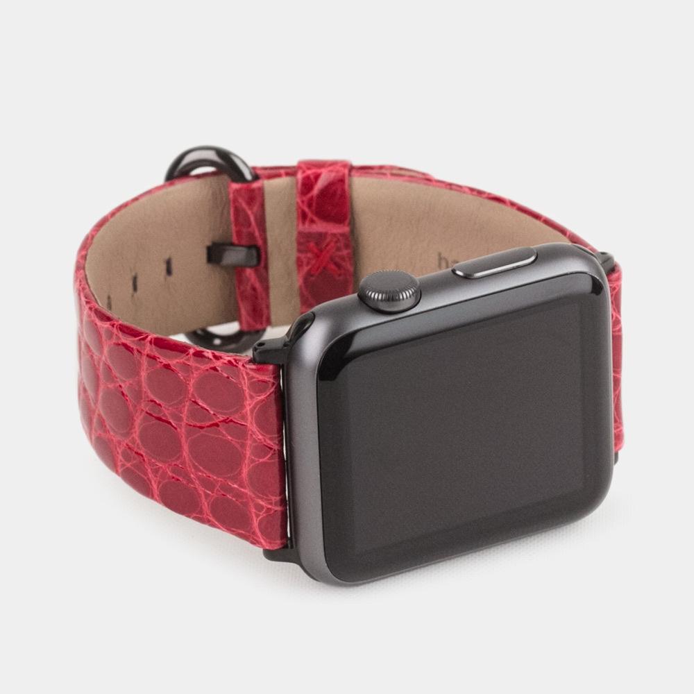 Ремешок для Apple Watch 38/40mm ST Classic из натуральной кожи аллигатора, цвета красный лак