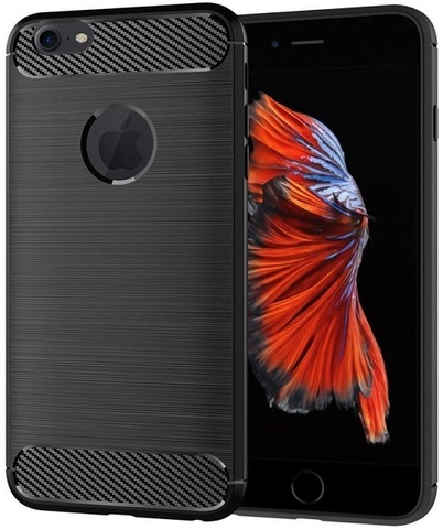 Чехол для iPhone 6 Plus (6S Plus) цвет Black (черный), серия Carbon от Caseport