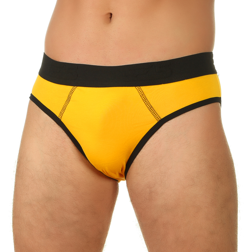 Мужские трусы брифы желтые с черной окантовкой E5 Underwea Cotton