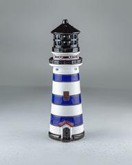 Синий маяк-подсвечник с потайной копилкой, 26х8 см, керамика, Литва