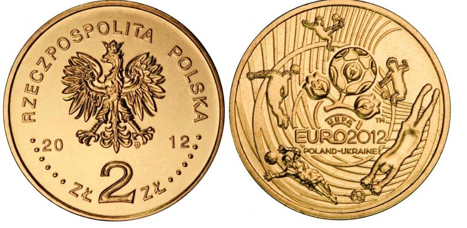 2 злотых. Евро по футболу в Польше и Украине. 2012 г. UNC