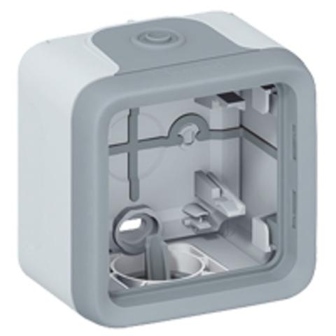 Рамка на 1 пост. Коробка для накладного монтажа c мембранными сальниками. Цвет Cерый. Legrand Plexo (Легранд Плексо). 069651