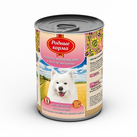 Родные корма консервы для собак птица с потрошками в желе по-московски 410 г