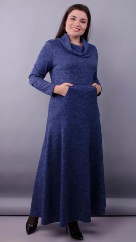Селфи. Платье макси для женщин плюс сайз. Синий.