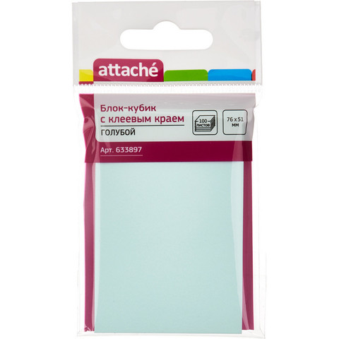 Стикеры Attache 76х51 мм пастельные голубые (1 блок, 100 листов)