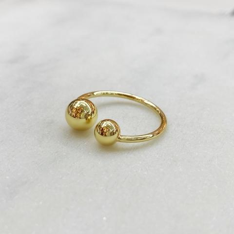 Кольцо с двумя шариками free size (золотистый)