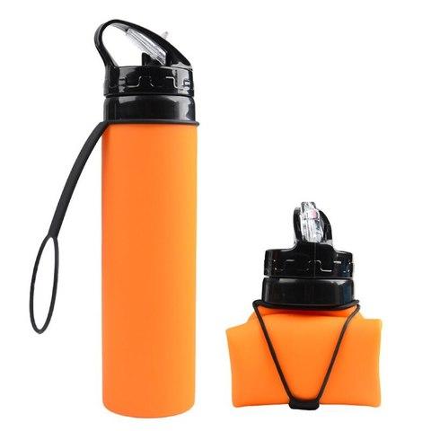 Бутылка силиконовая скручивающаяся 600 мл. оранжевая
