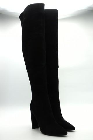 Ботфорты из натурального велюра на высоком устойчивом каблуке