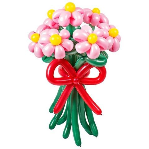 Ромашки из воздушных шаров розовые