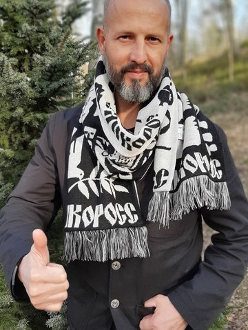 Tales of the Bryansk Forest - black and white No. 1.1 (Fringed Scarf)