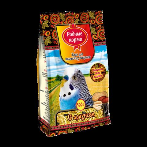 Родные корма Сухой корм для волнистых попугаев с арахисом