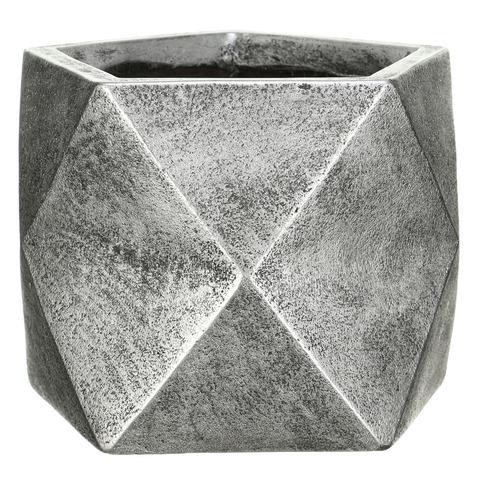 DSQUARE25-SLV Кашпо Геометри Ромб, файберстоун, серебро, W25 L25 H20 cm