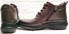 Кожаные кеды ботинки осенние женские Evromoda 535-2010 S.A. Dark Brown.