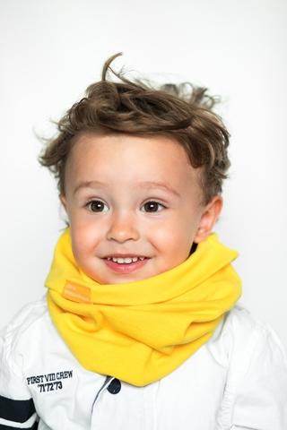 Детский снуд-горловинка из хлопка гладкий желтый