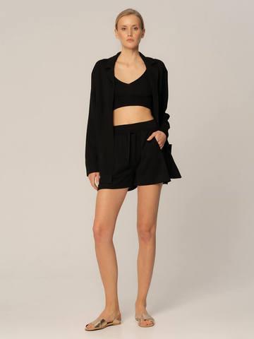 Женские шорты черного цвета из вискозы - фото 4