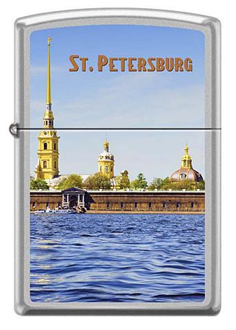 Зажигалка Zippo Петропавловская крепость, латунь/сталь с покрытием Satin Chrome, серебристая123
